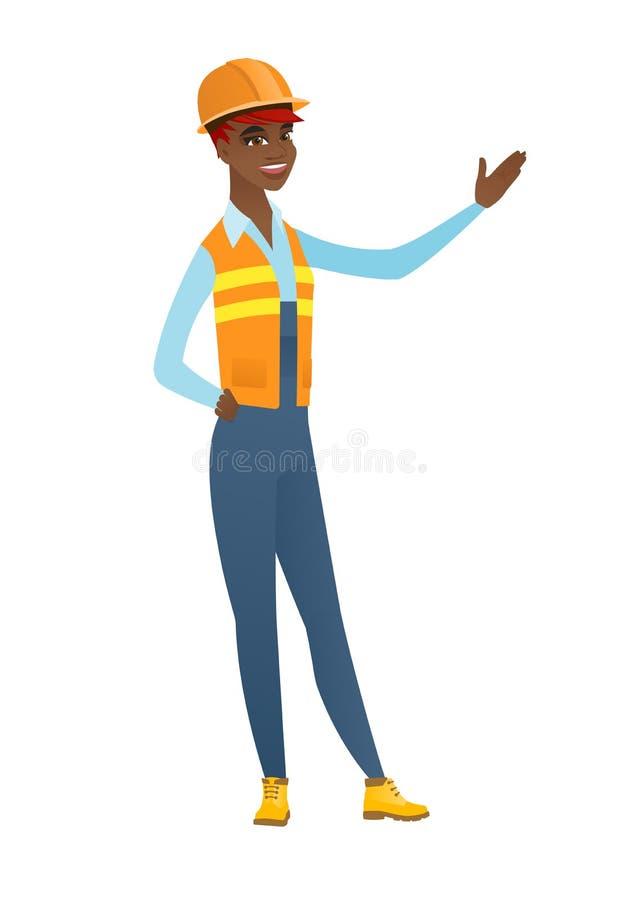 Afroamerykański budowniczy pokazuje kierunek ilustracji