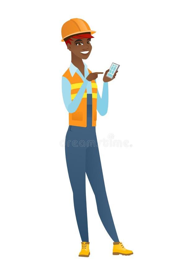 Afroamerykański budowniczy trzyma telefon komórkowego ilustracji