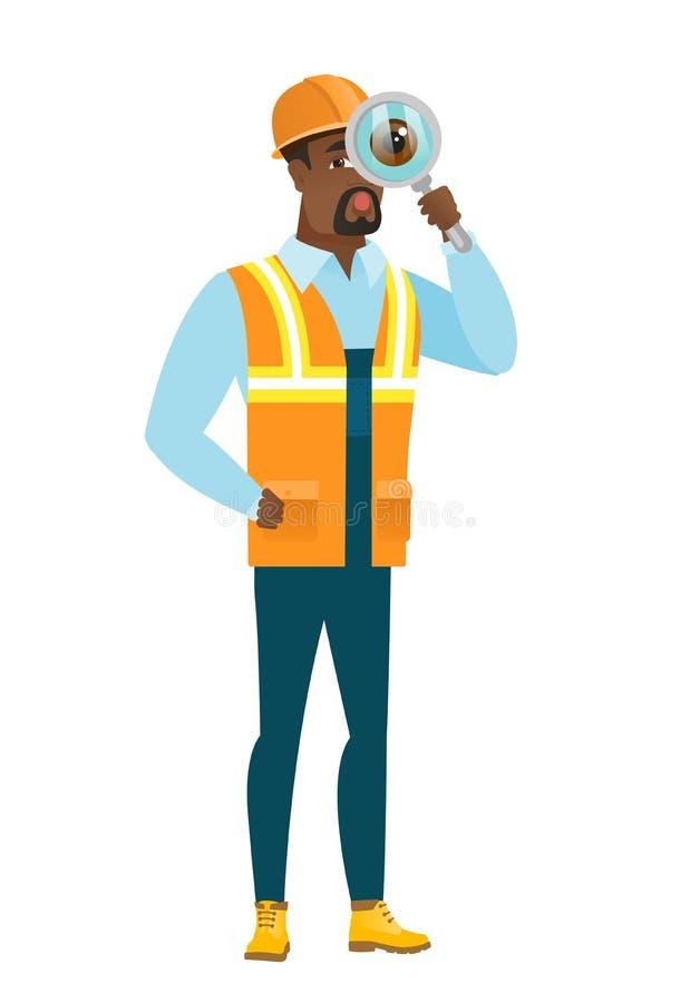 Afroamerykański budowniczy z powiększać - szkło ilustracja wektor