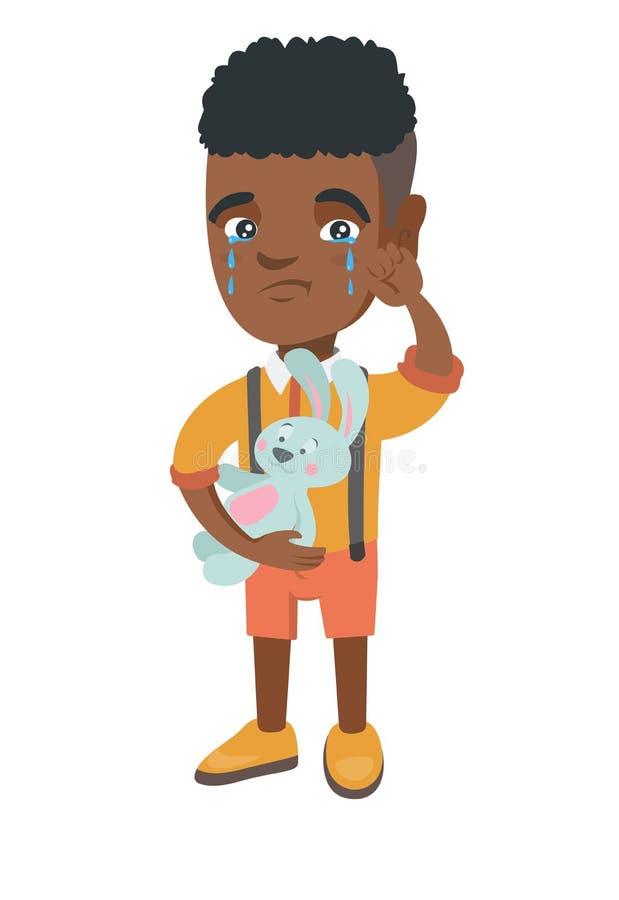Afroamerykański chłopiec płacz i mienie zabawka ilustracja wektor