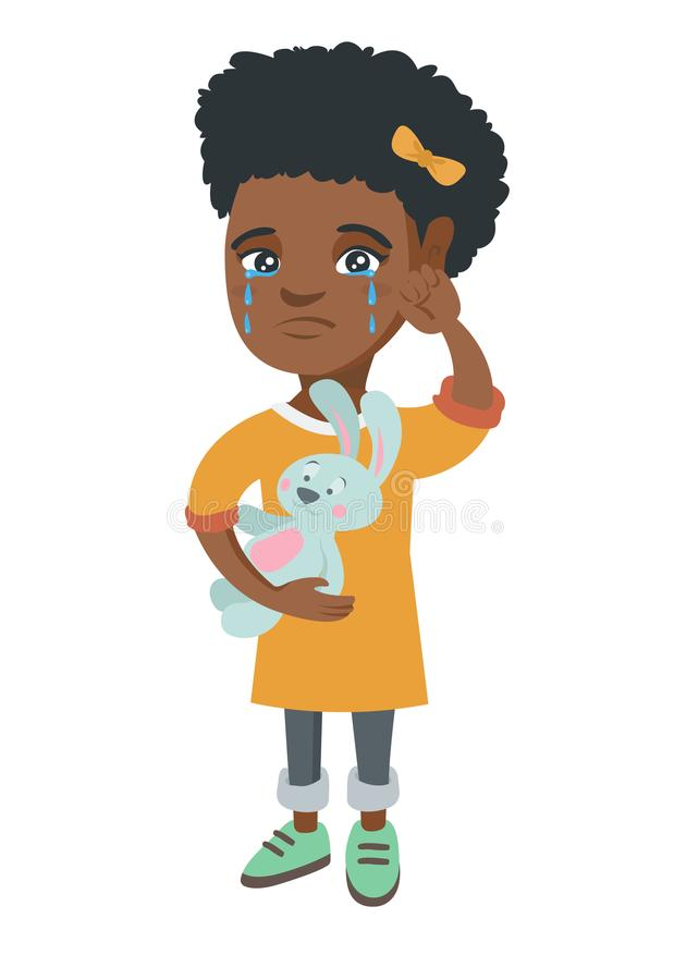 Afroamerykański dziewczyna płacz i mienie zabawka ilustracji