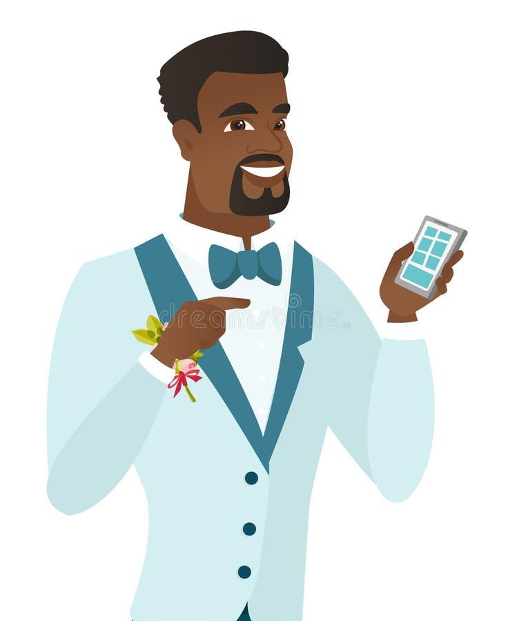 Afroamerykański fornal trzyma telefon komórkowego ilustracji