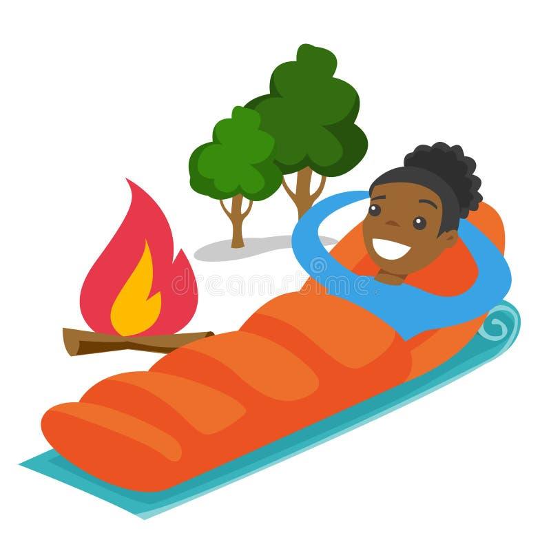 Afroamerykański kobiety dosypianie w sypialnej torbie ilustracji