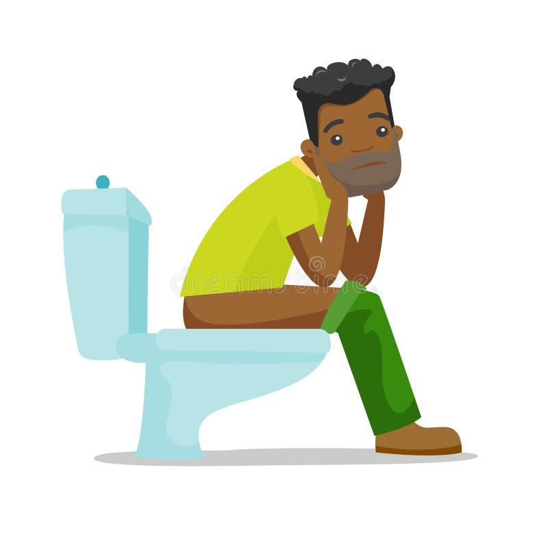 Afroamerykański mężczyzna cierpienie od zaparcia royalty ilustracja