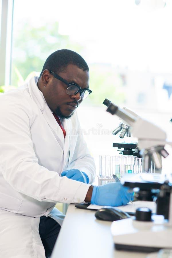 Afroamerykański naukowiec pracuje w lab Doktorski robi mikrobiologii badanie Laboratoriów narzędzia: mikroskop, próbne tubki zdjęcia stock