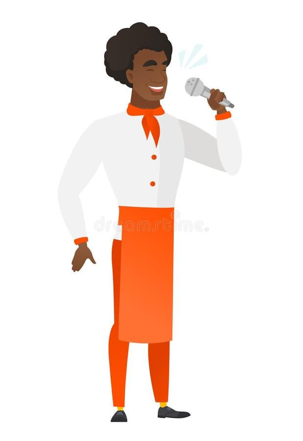 Afroamerykański szefa kuchni kucharz śpiewa mikrofon royalty ilustracja