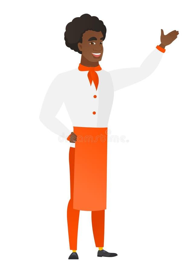 Afroamerykański szefa kuchni kucharz pokazuje kierunek ilustracji