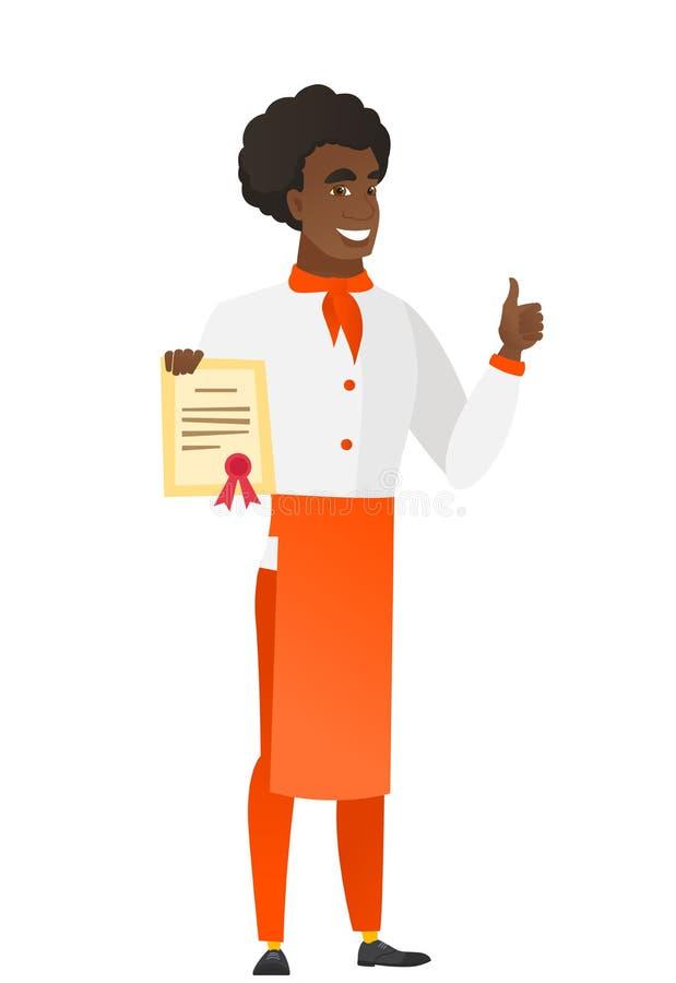 Afroamerykański szefa kuchni kucharz trzyma świadectwo royalty ilustracja