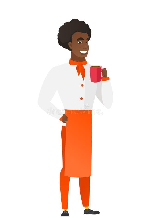 Afroamerykański szefa kuchni kucharz trzyma filiżankę kawy ilustracji