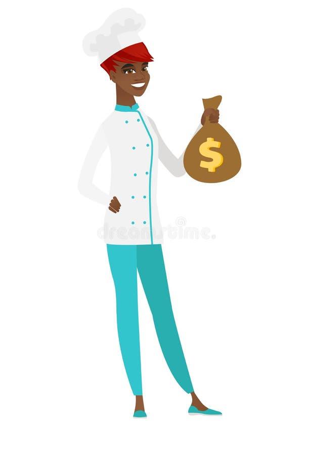 Afroamerykański szefa kuchni kucharz trzyma pieniądze torbę ilustracja wektor
