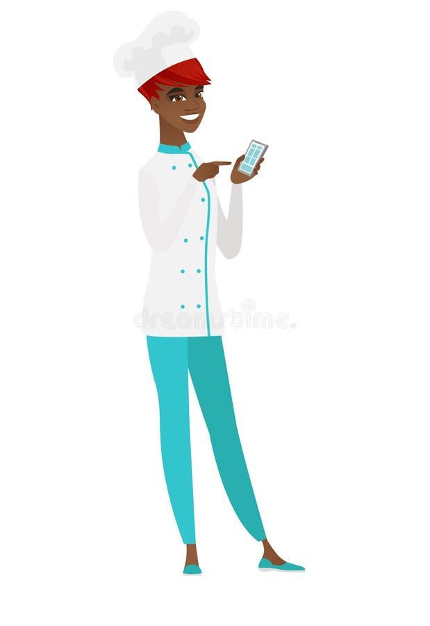 Afroamerykański szefa kuchni kucharz trzyma telefon komórkowego ilustracja wektor