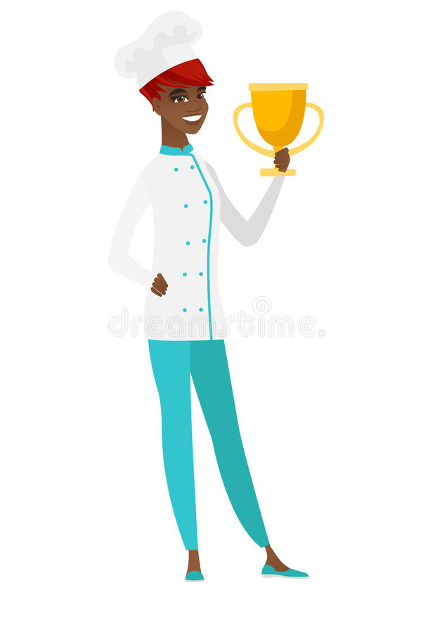 Afroamerykański szefa kuchni kucharz trzyma trofeum ilustracja wektor