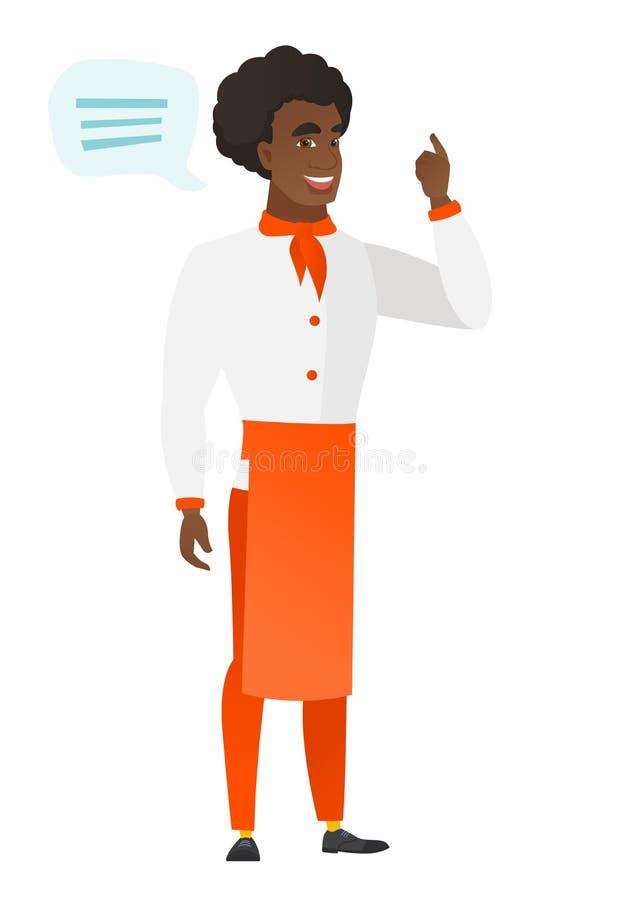 Afroamerykański szefa kuchni kucharz z mowa bąblem ilustracja wektor