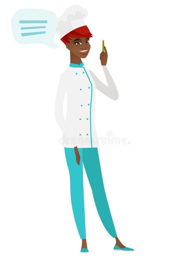 Afroamerykański szefa kuchni kucharz z mowa bąblem royalty ilustracja