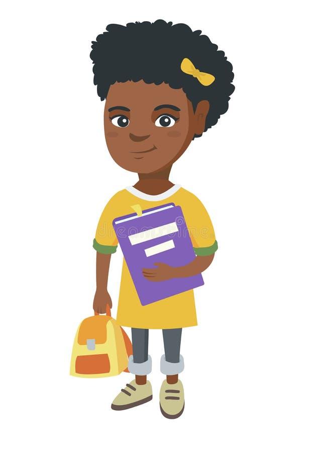 Afroamerykański uczeń z plecakiem i podręcznikiem ilustracji