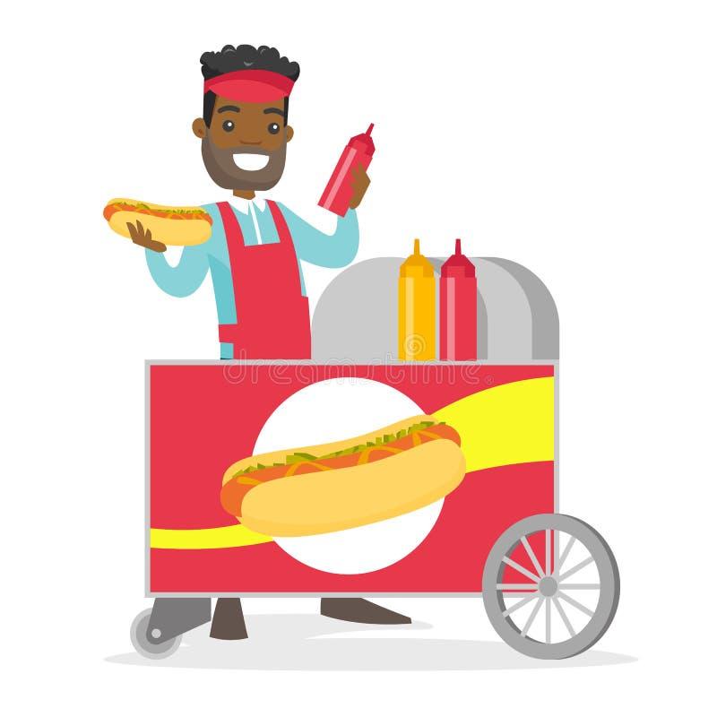 Afroamerykański uliczny sprzedawca robi hot dog ilustracji