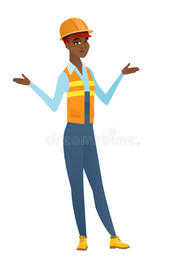 Afroamerykanin wprawiać w zakłopotanie budowniczy z rozciągniętymi rękami ilustracji