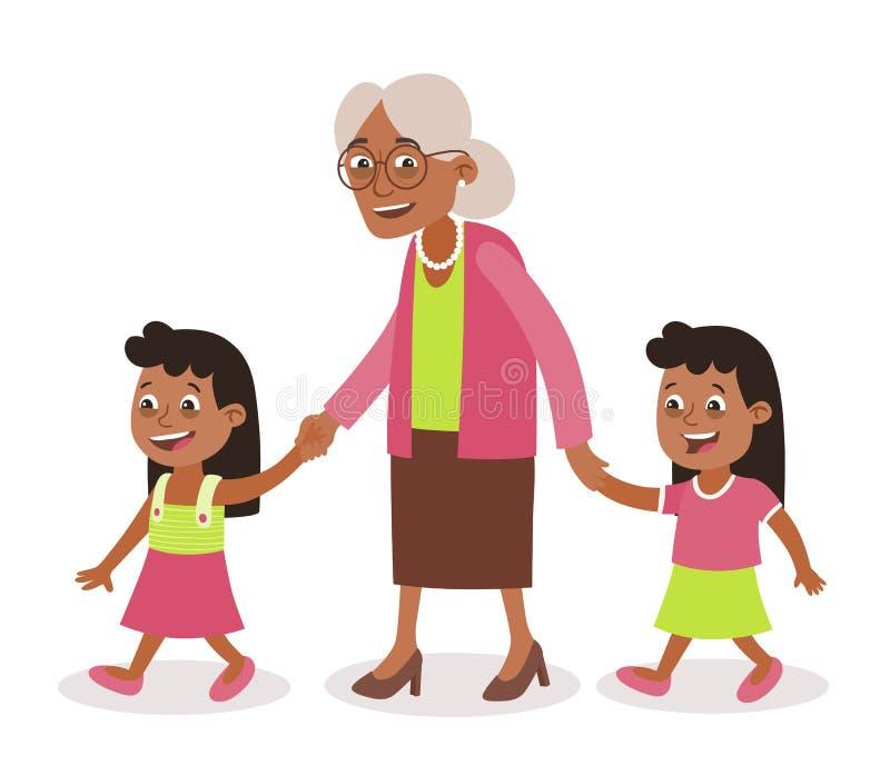 Afroametican wnuczki i babci bliźniaków chodzić ilustracja wektor