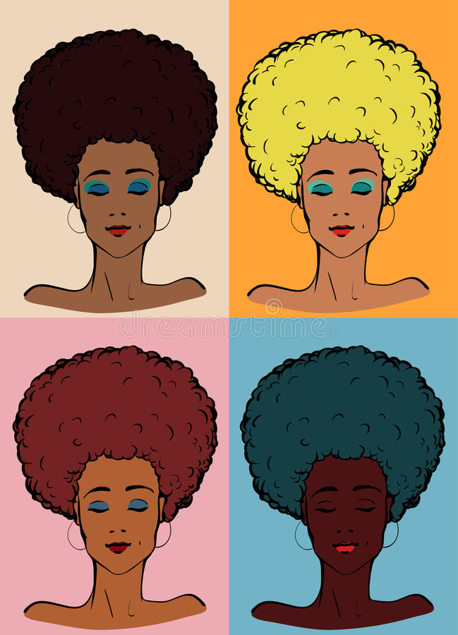 Afrodamenfarbe stock abbildung