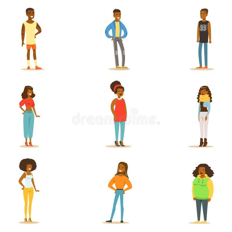 Afroe-amerikanisch schwarze Menschen Straßen-Art-Kleidungs-Sammlungs-Zeichentrickfilm-Figur-Stellung stock abbildung