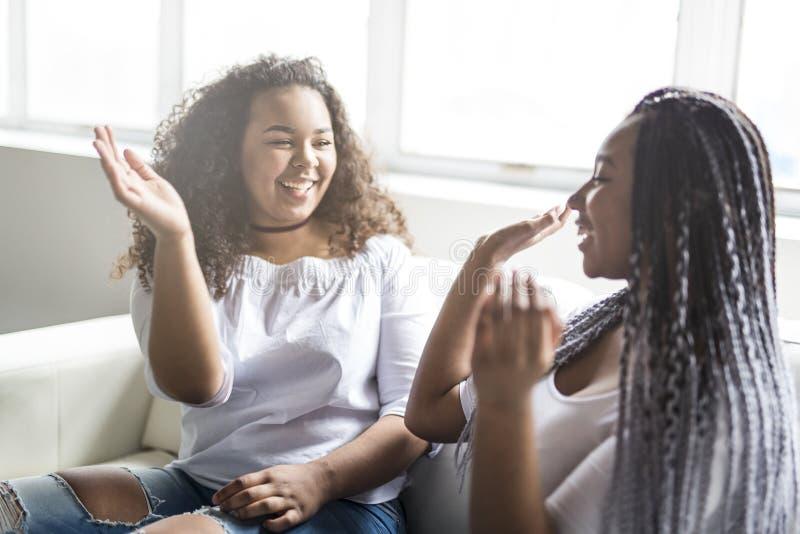 Afroes-amerikanisch Sitzen der liebevollen Freunde auf Sofa stockfotografie