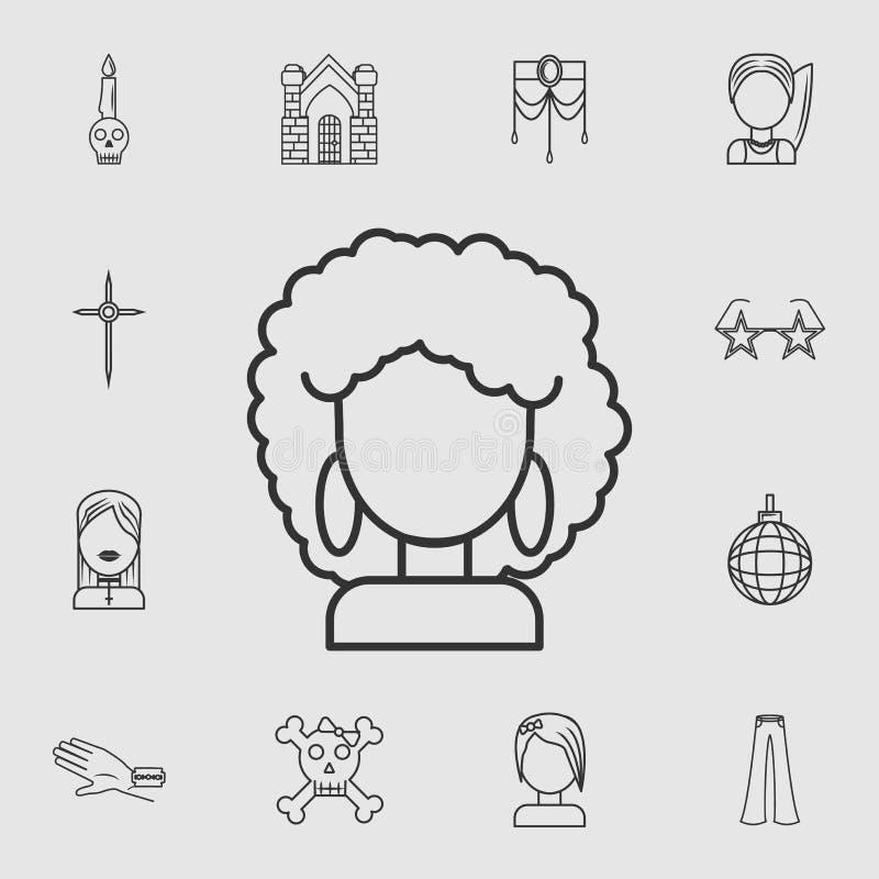 Afrofrauen-Discoikone Ausführlicher Satz Lebensstilsikonen Erstklassiges Qualitätsgrafikdesign Eine der Sammlungsikonen für Websi lizenzfreie abbildung