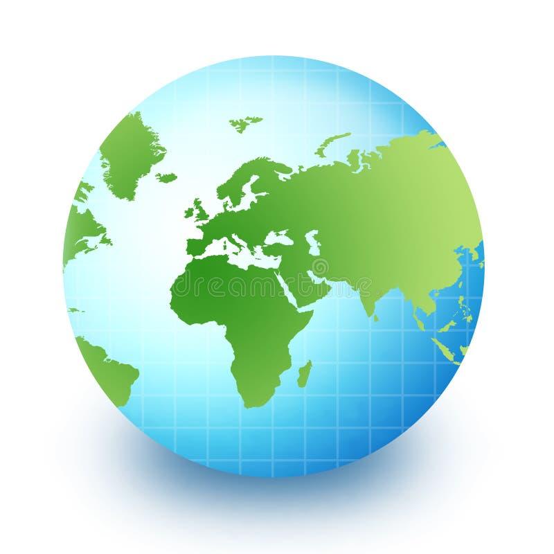 afryce Azji globe świata. ilustracja wektor