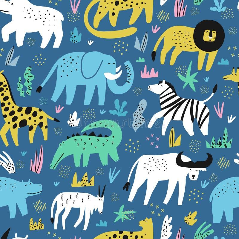 Afrykańska płaska ręka rysujący zwierzę bezszwowy wzór royalty ilustracja