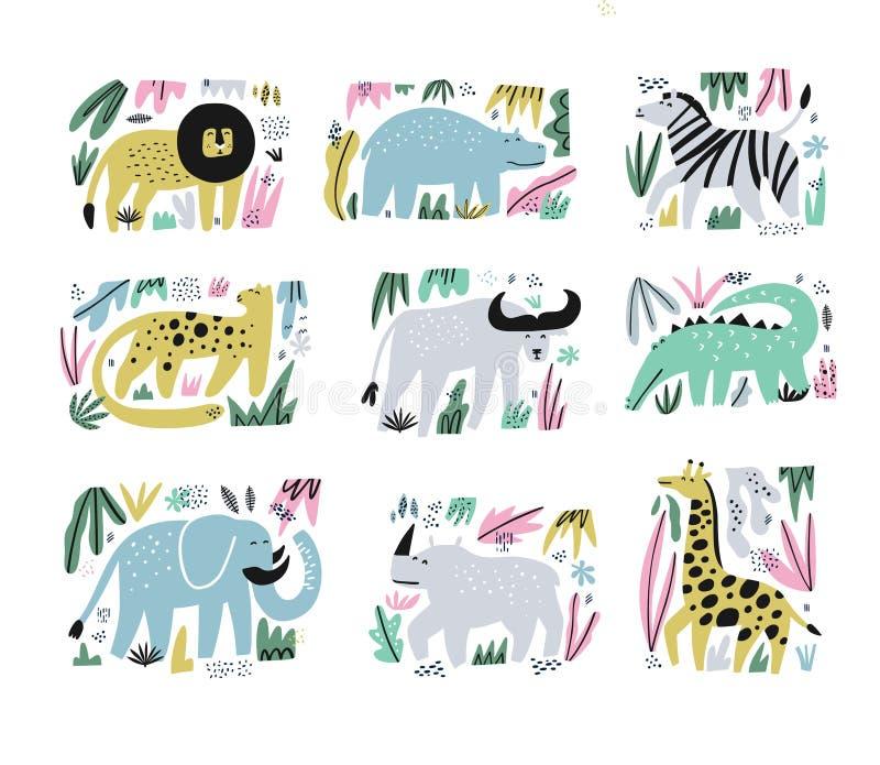 Afrykańska ręka rysować zwierzę płaskie ilustracje ustawiać ilustracja wektor