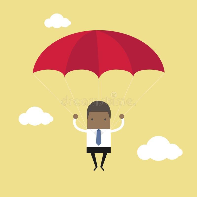 Afrykański biznesmen z spadochronem w niebie royalty ilustracja