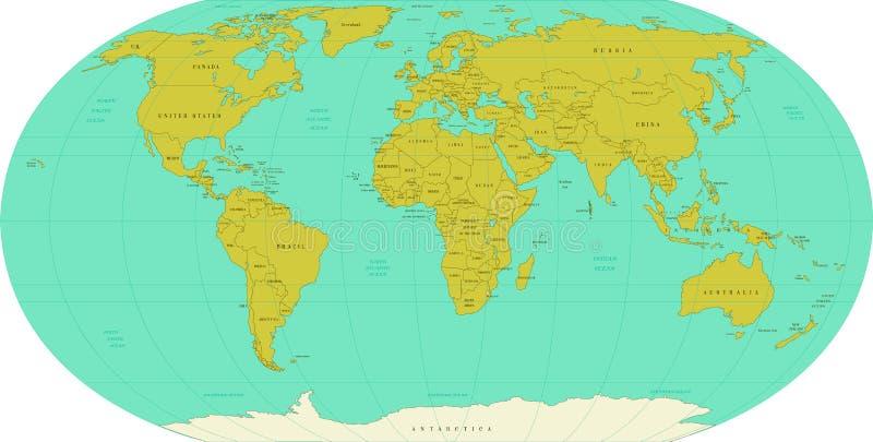afrykańscy azjatykci kontynenty wyszczególniający europejczyk wysoce kartografuje świat wektor royalty ilustracja