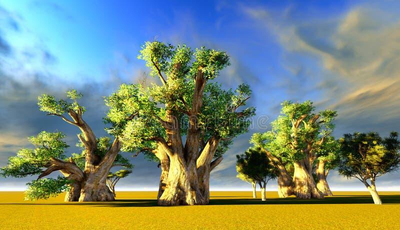 Afrykańscy baobaby ilustracja wektor