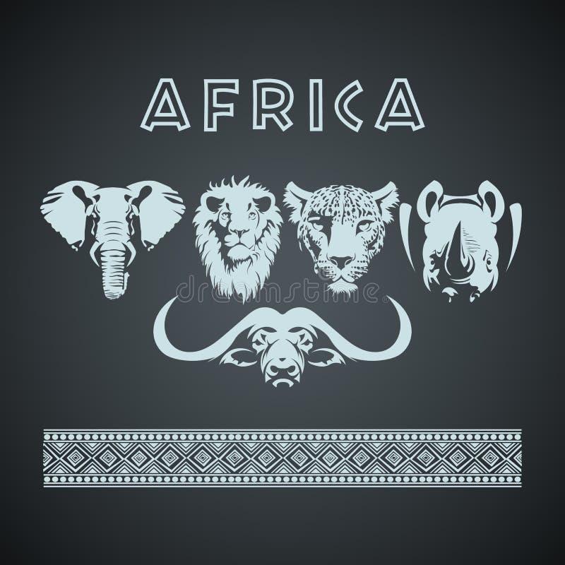 Afrykańscy duzi pięć zwierząt i wzór ilustracji
