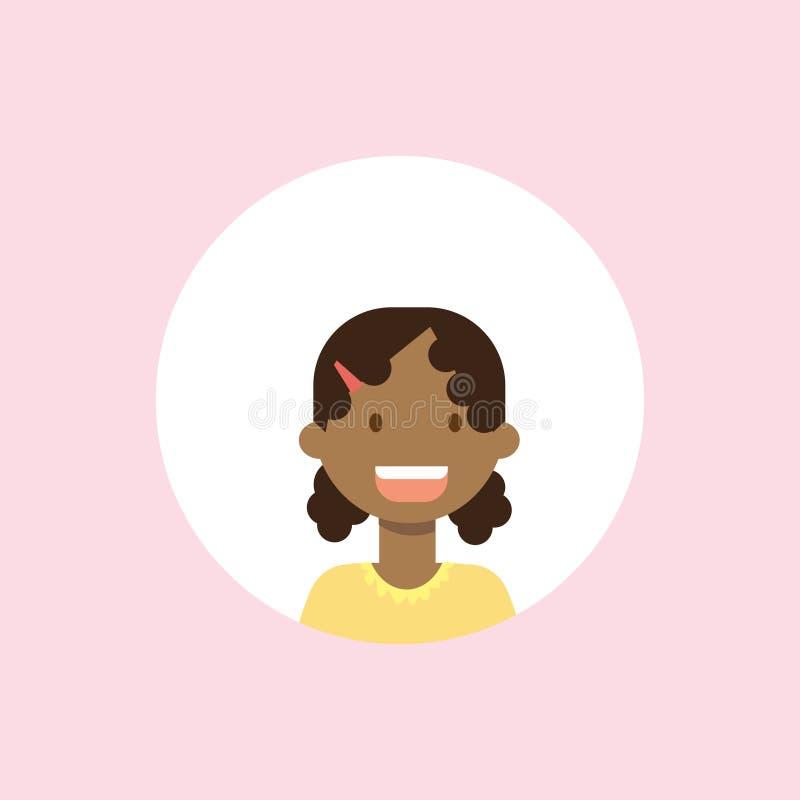Afrykańscy dzieci stawiają czoło dziewczyna portret na różowym tle, żeński avatar mieszkanie royalty ilustracja