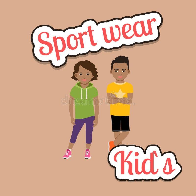 Afrykańscy dzieci w sport odzieży stylu ilustracja wektor