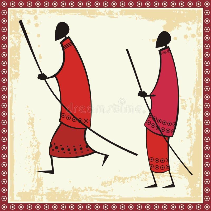 afrykańscy ilustracj masai wojownicy royalty ilustracja