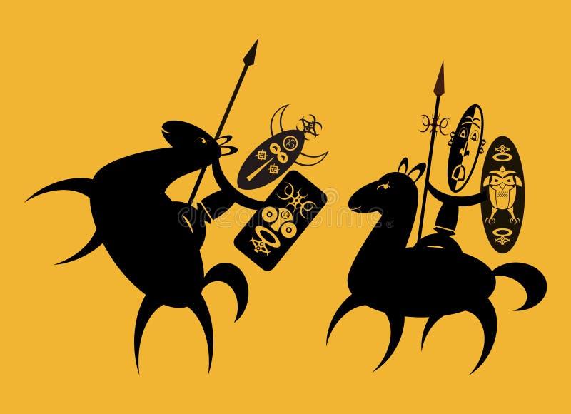 afrykańscy jeźdzowie ilustracja wektor