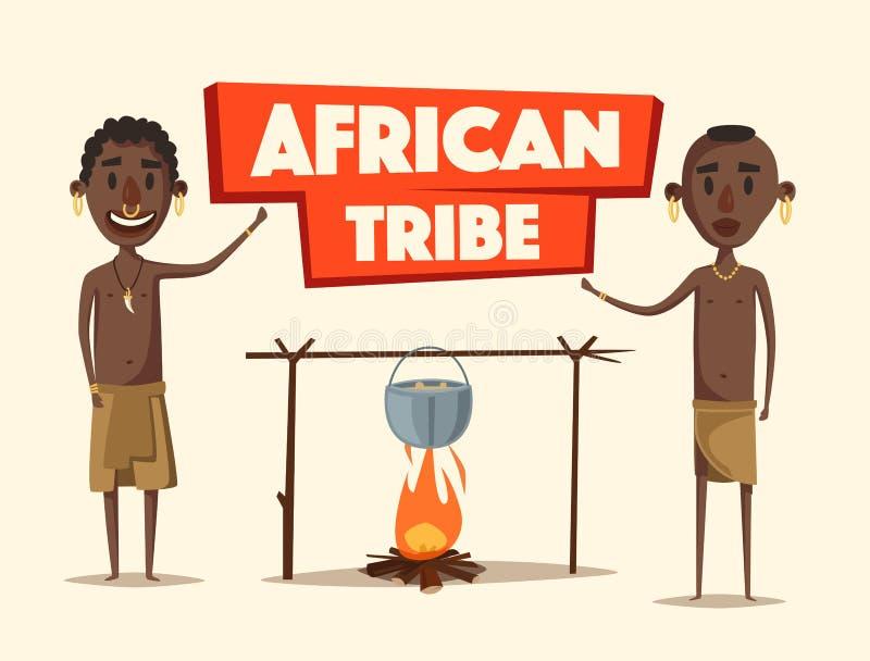 afrykańscy ludzie Miejscowi południe - amerykanin obcy kreskówki kota ucieczek ilustraci dachu wektor ilustracja wektor