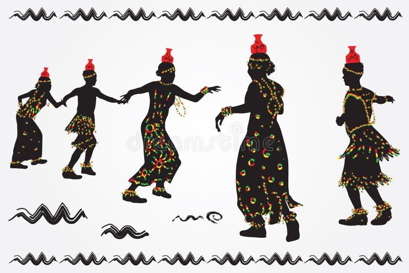 Afrykańscy ludzie tanczą ludowego tana ilustracji