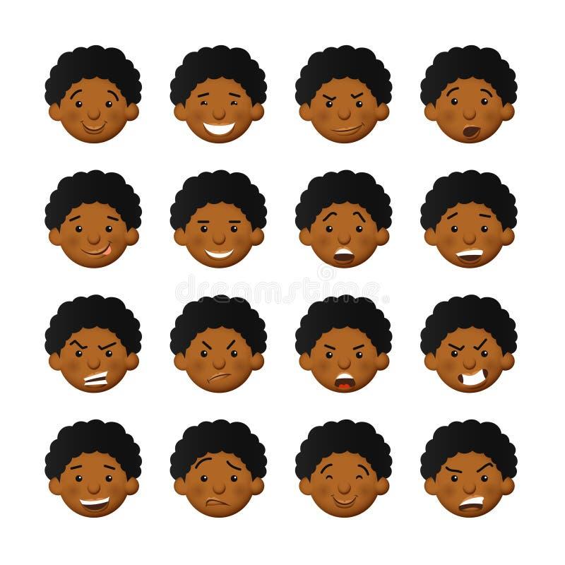Afrykańscy mężczyźni z różowymi policzkami Wektorowi avatars i emoticons ustawiaj?cy royalty ilustracja