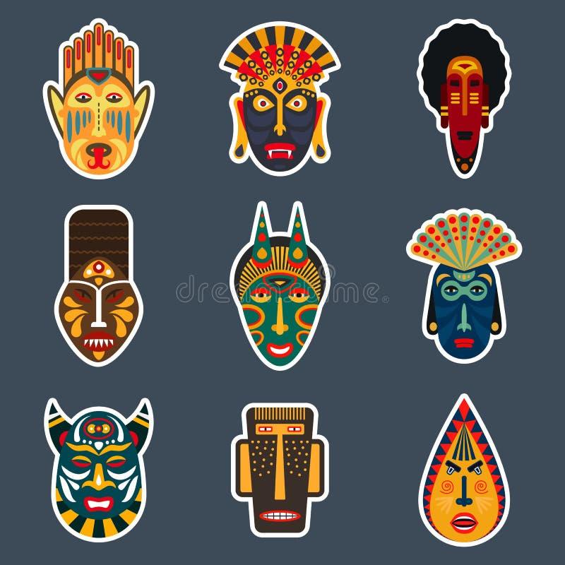 Afrykańscy obrządkowi plemienni maska majchery royalty ilustracja