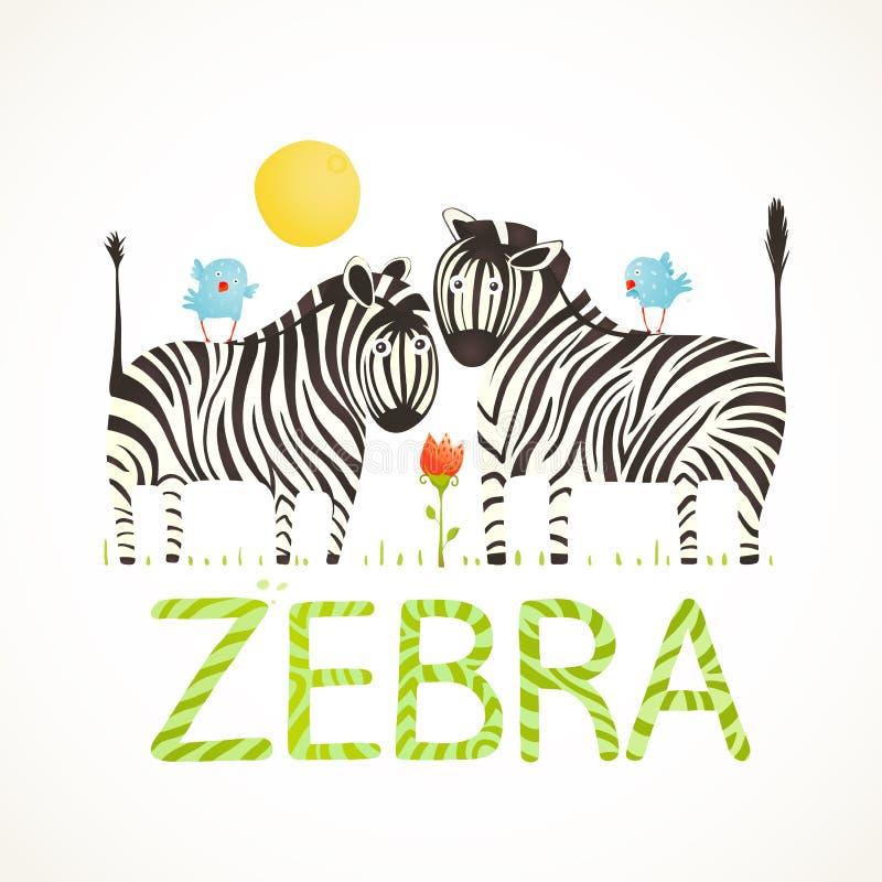 Afrykańscy zebr zwierzęta i zabawy literowania kreskówka ilustracji