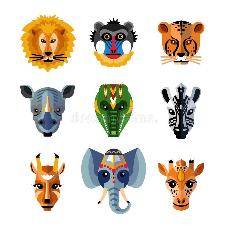Afrykańscy zwierzęta Przewodzą maski mieszkania ikony ilustracja wektor
