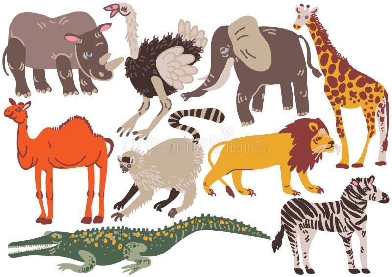 Afrykańscy zwierzęta Ustawiający, nosorożec, struś, słoń, Ggiraffe, wielbłąd, lew, krokodyl, zebra, lemura wektoru ilustracja ilustracja wektor