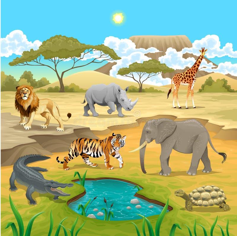 Afrykańscy zwierzęta w naturze. ilustracji