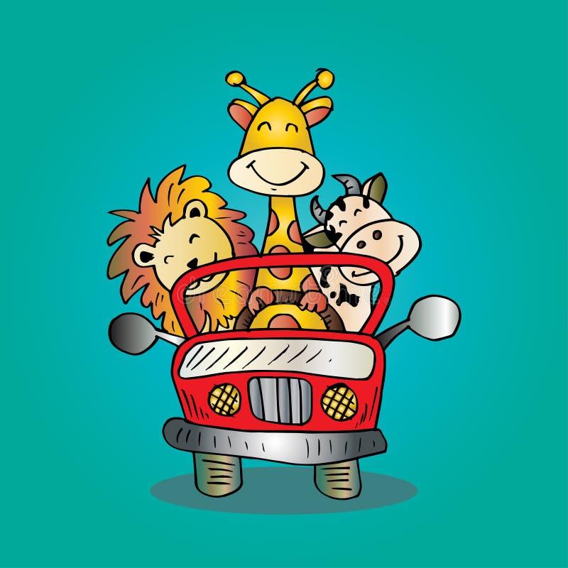 Afrykańscy zwierzęta w samochodzie ilustracji
