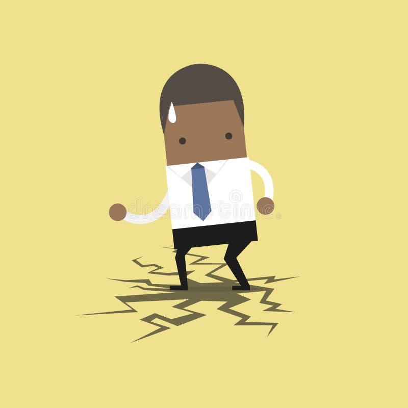 Afrykańska biznesmen pozycja na łupanie podłoga ilustracja wektor