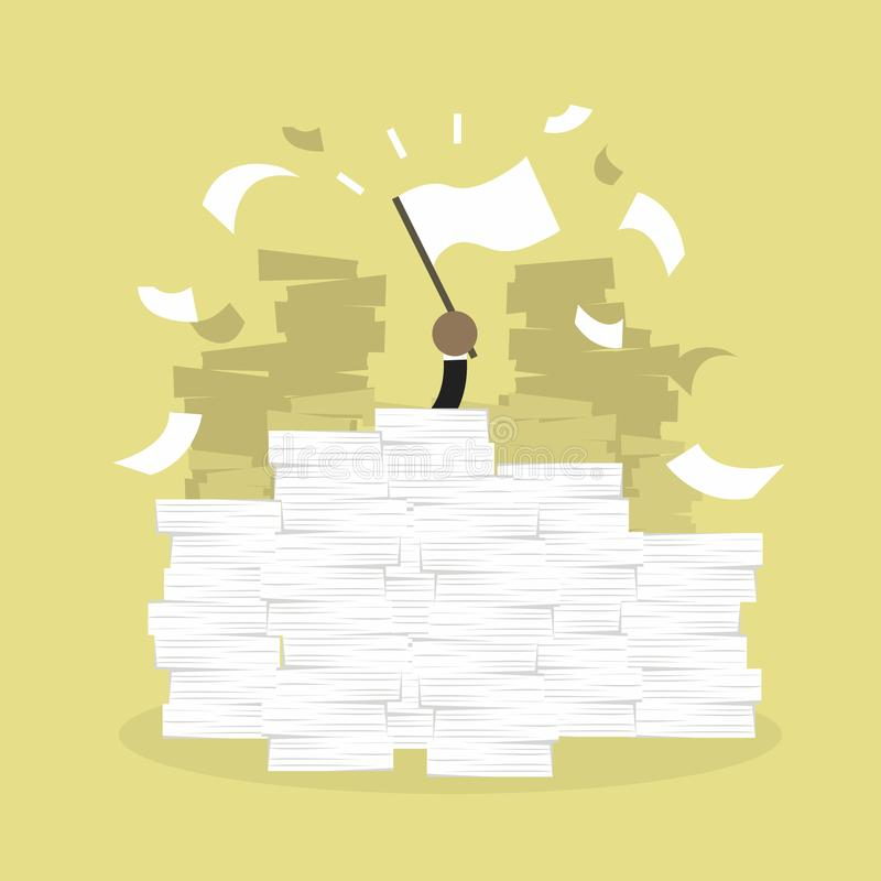 Afrykańska biznesmen ręka z białą flaga Biurowy biurko ładujący papierkowa robota, faktury i mnóstwo papiery, dokumenty royalty ilustracja
