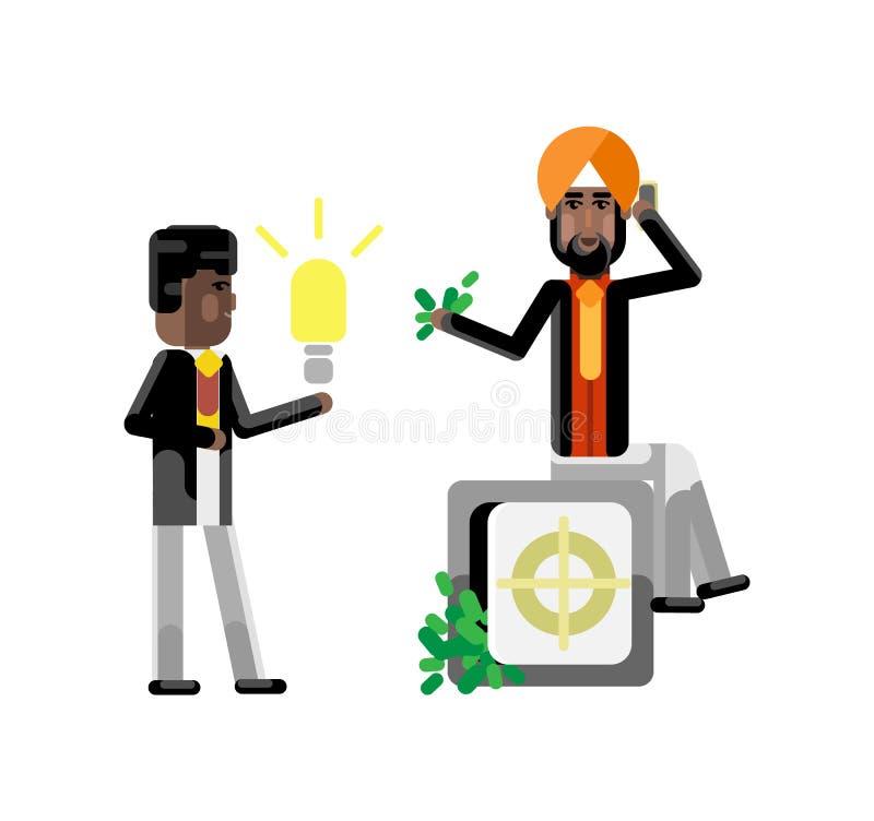 Afrykańska biznesmena mienia pomysłu żarówka ilustracja wektor