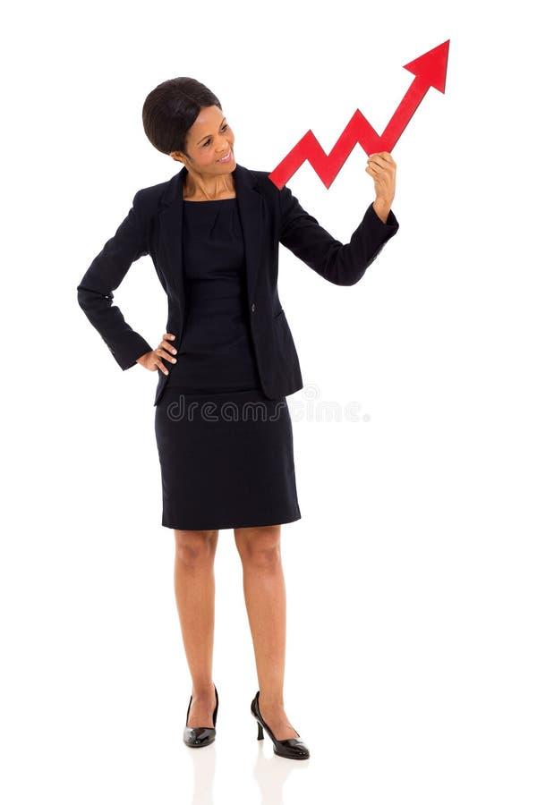 Afrykańska bizneswomanu przyrosta strzała obrazy stock